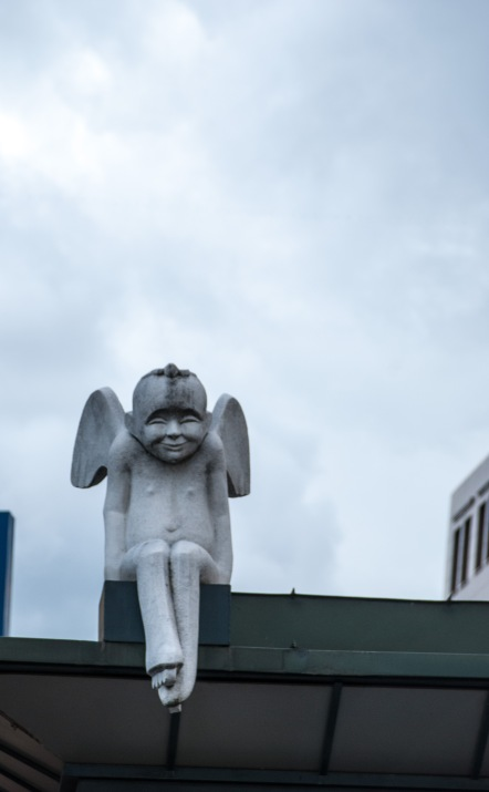 One of the city's guardian angels by sculptor Vaidotas Ramoška.