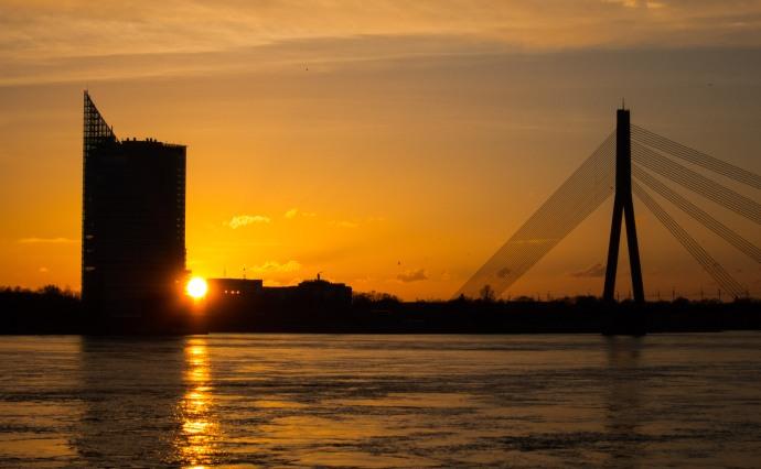 Sunset on the Daugava River